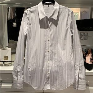 Theory pinstripe fitted button down top